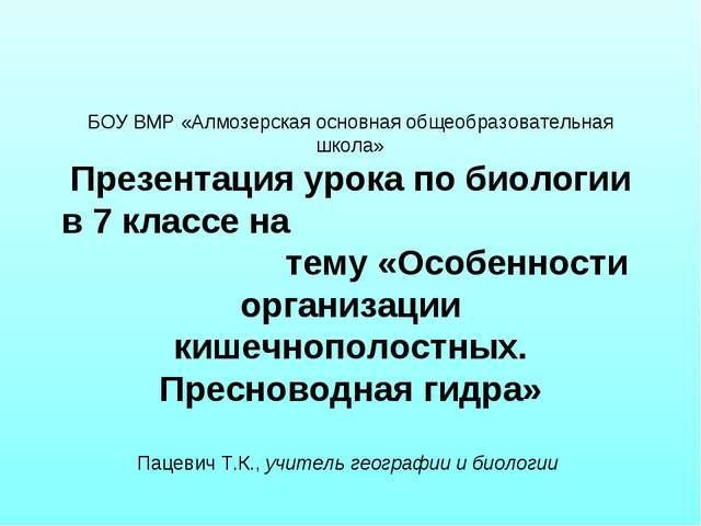 БОУ ВМР «Алмозерская основная общеобразовательная школа» Презентация урока п...