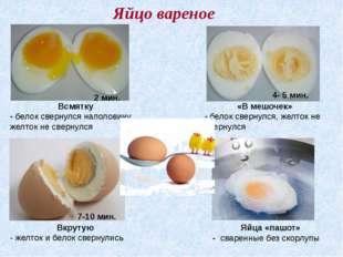 Яйцо вареное Яйца «пашот» - сваренные без скорлупы Всмятку - белок свернулся