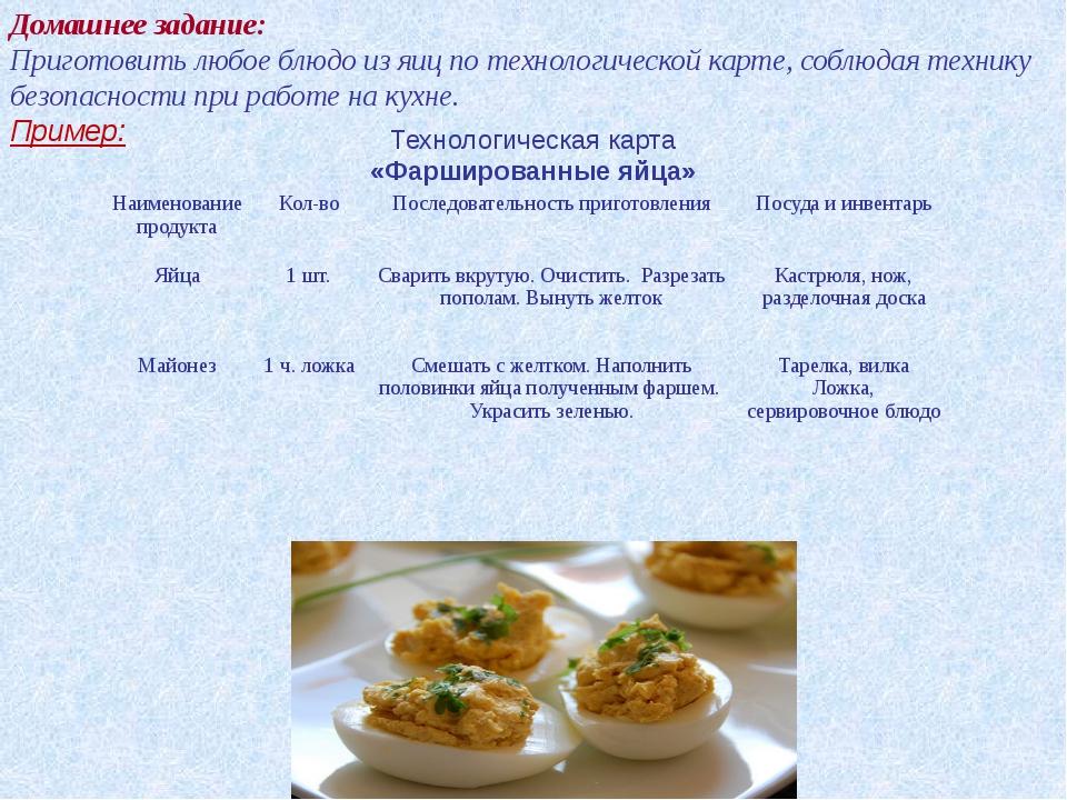 Домашнее задание: Приготовить любое блюдо из яиц по технологической карте, со...