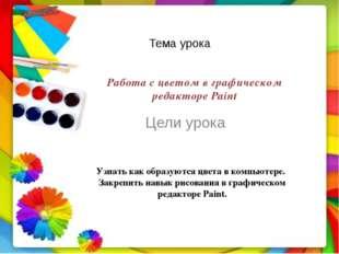 Тема урока Цели урока Работа с цветом в графическом редакторе Paint Узнать ка