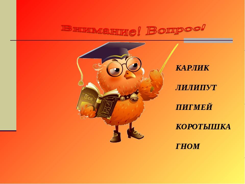 КАРЛИК ЛИЛИПУТ ПИГМЕЙ КОРОТЫШКА ГНОМ