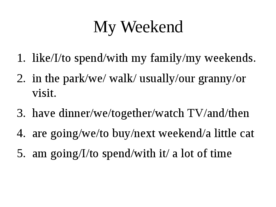 My Weekend I like to spend my weekends with my family. We usually walk in the...
