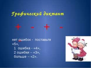 Графический диктант + - + - - нет ошибок - поставьте «5», 1 ошибка - «4», 2 о