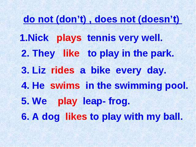 Nick plays tennis very well. 2. They like to play in the park. do not (don't)...
