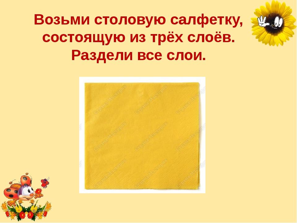 Возьми столовую салфетку, состоящую изтрёх слоёв. Раздели все слои. Лукяненк...