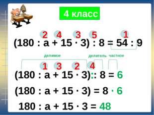 (180 : а + 15 ∙ 3) : 8 = 54 : 9 2 4 3 1 5 (180 : а + 15 ∙ 3) : 8 = 6 1 2 3 4