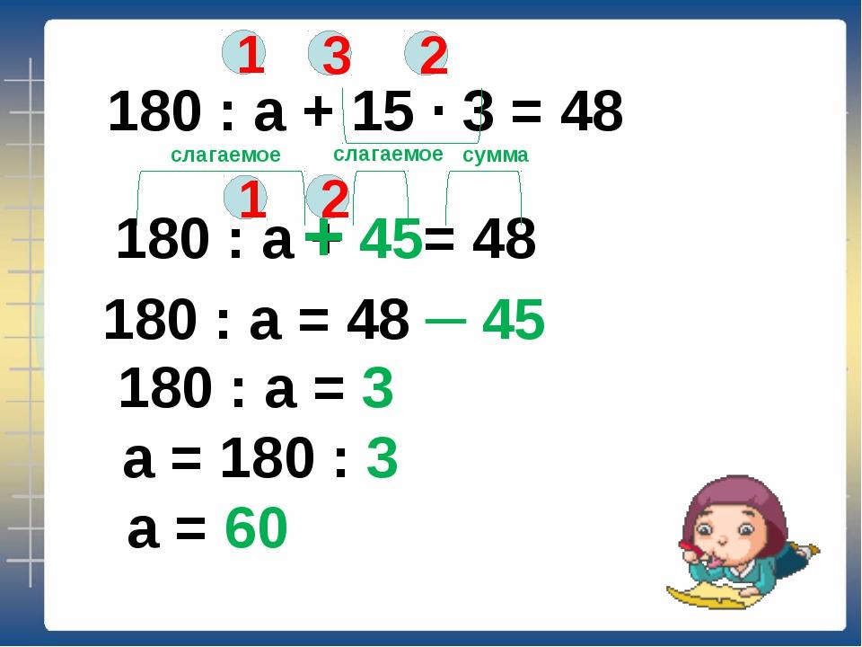 180 : а + 15 ∙ 3 = 48 1 2 3 180 : а + 45= 48 + 1 2 слагаемое слагаемое сумма...
