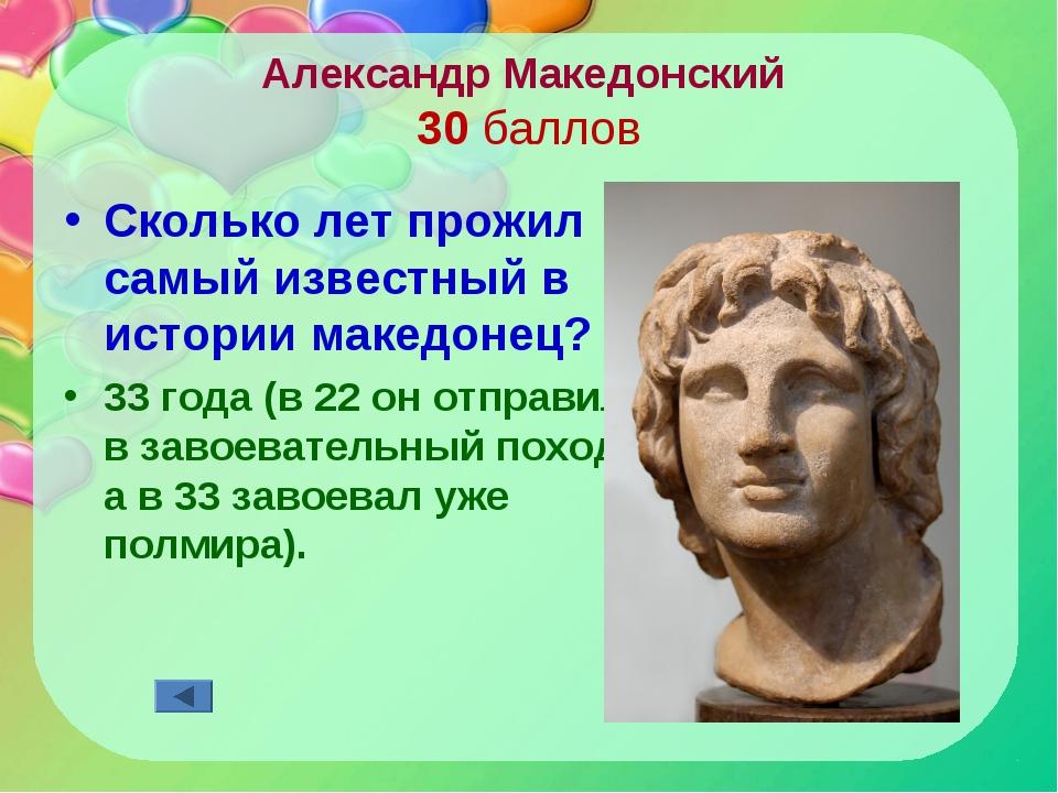 Александр Македонский 30 баллов Сколько лет прожил самый известный в истории...