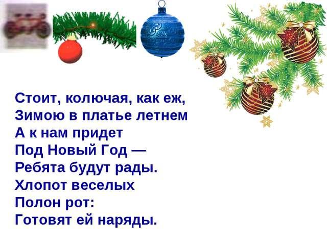 Стоит, колючая, как еж, Зимою в платье летнем. А к нам придет Под Новый Год —...
