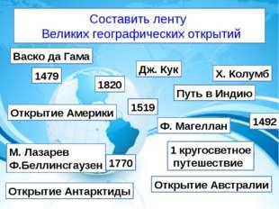 Составить ленту Великих географических открытий 1479 1820 1519 1770 1492 Путь