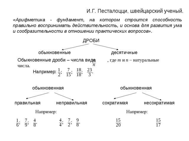 И.Г. Песталоцци, швейцарский ученый. «Арифметика - фундамент, на котором стро...