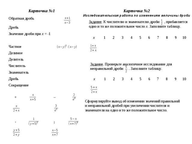 Обратная дробь Дробь Значение дроби при х = -1 Частное Делимое Делитель...