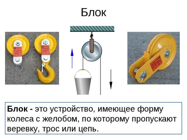 Блок Блок- это устройство, имеющее форму колеса с желобом, по которому пропу...