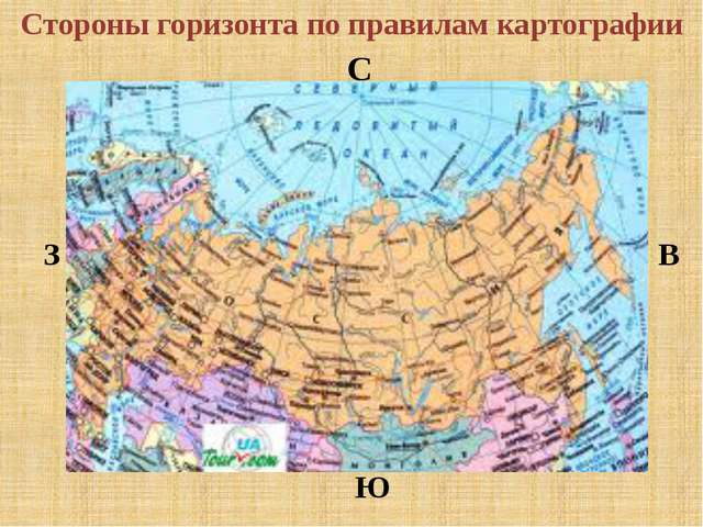 Стороны горизонта по правилам картографии С Ю З В