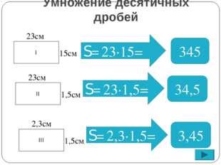 S= 345 34,5 I 23см 15см II 23см 1,5см S= 23∙1,5= 3,45 III 2,3см 1,5см S= 2,3∙