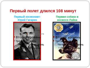 Первый полет длился 108 минут Первый космонавт- Юрий Гагарин Первая собака в