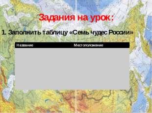 Задания на урок: 1. Заполнить таблицу «Семь чудес России» Название Местополож