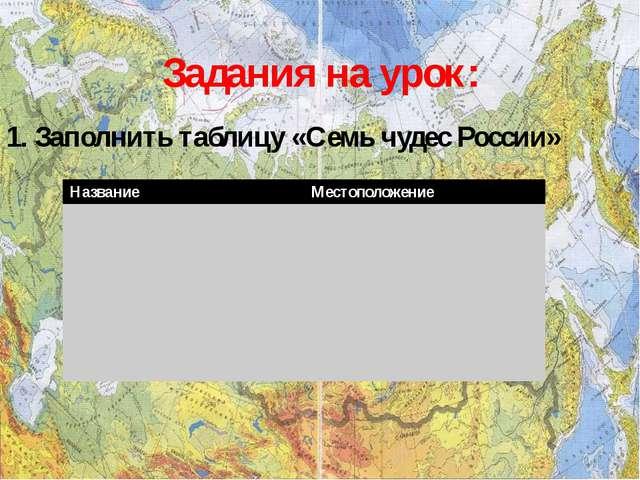 Задания на урок: 1. Заполнить таблицу «Семь чудес России» Название Местополож...