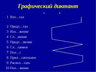 Графический диктант 1 Изл…гал 2 Предл…гал 3 Изл…жение 4 Сл…жение 5 Предл…жен