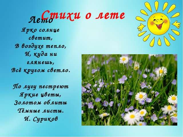 Лето Ярко солнце светит, В воздухе тепло, И, куда ни глянешь, Всё кругом свет...