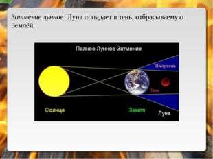 Затмение лунное: Луна попадает в тень, отбрасываемую Землёй.