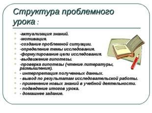 Структура проблемного урока : -актуализация знаний. -мотивация. -создание про