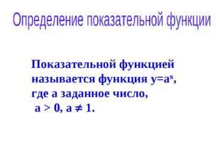 21.03.08 Классная работа Показательной функцией называется функция y=ах, где