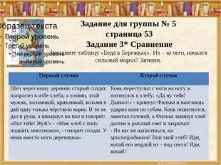Задание для группы № 5 страница 53 Задание 3* Сравнение Заполните таблицу «Б
