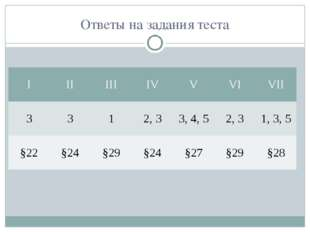 Ответы на задания теста IIIIIIIVVVIVII 3312, 33, 4, 52, 31, 3, 5