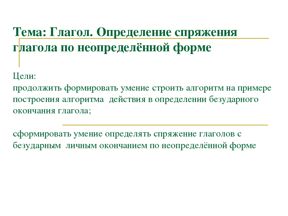 Конспект открытого урока по русскому языку в 4классе тема спряжение глагола закрепление