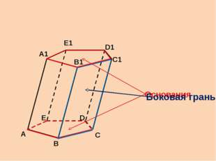 А В С С1 D Е А1 В1 D1 Е1 Основания Боковая грань