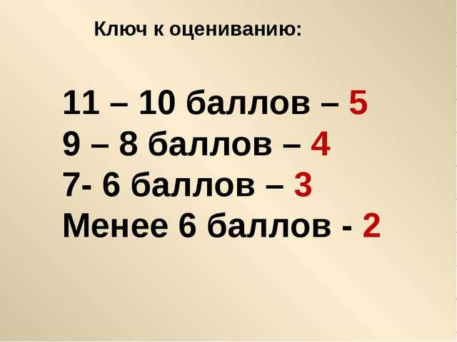 Ключ к оцениванию: 11 – 10 баллов – 5 9 – 8 баллов – 4 7- 6 баллов – 3 Менее...