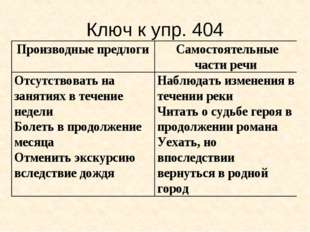 Ключ к упр. 404