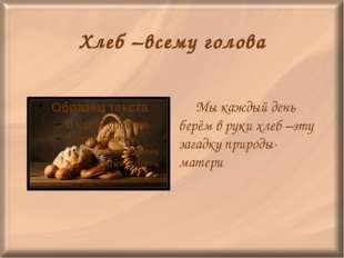 Хлеб –всему голова Мы каждый день берём в руки хлеб –эту загадку природы-мат