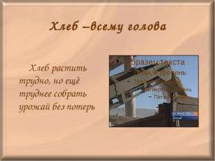 Хлеб –всему голова Хлеб растить трудно, но ещё труднее собрать урожай без по
