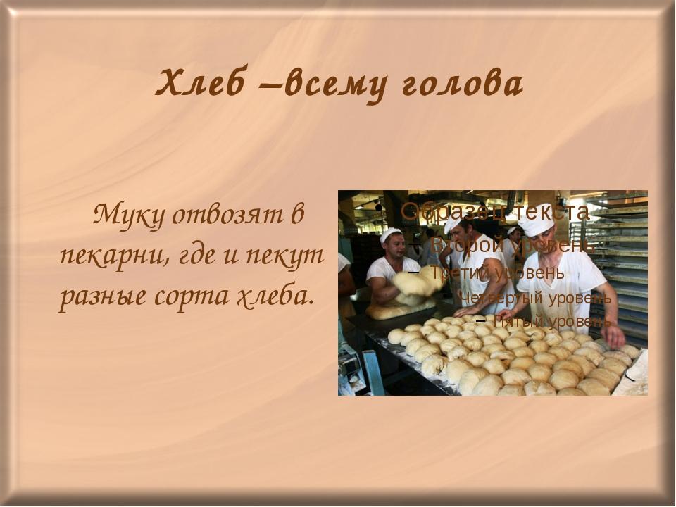 Хлеб –всему голова Муку отвозят в пекарни, где и пекут разные сорта хлеба.