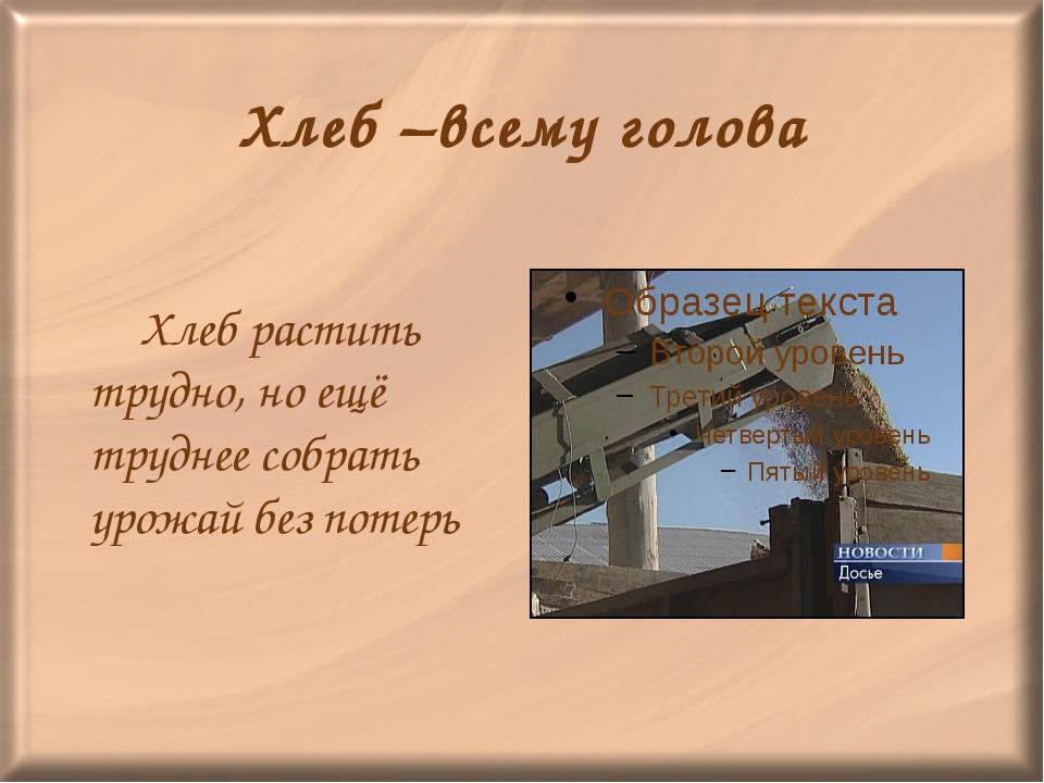 Хлеб –всему голова Хлеб растить трудно, но ещё труднее собрать урожай без по...
