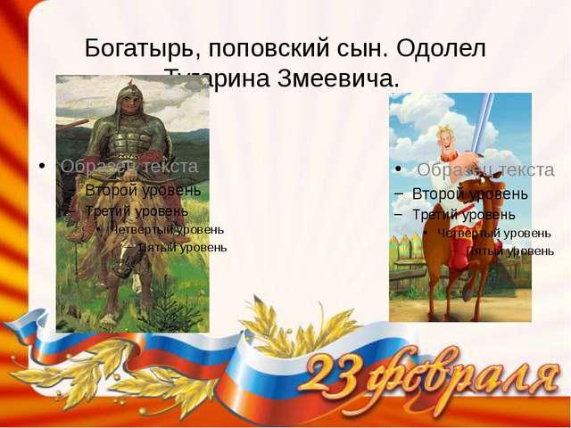 Богатырь, поповский сын. Одолел Тугарина Змеевича.