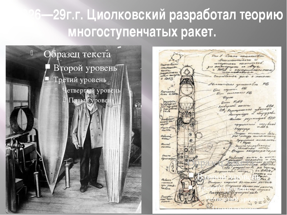 В 1926—29г.г. Циолковский разработал теорию многоступенчатых ракет.