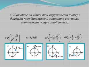 3. Укажите на единичной окружности точку с данными координатами и запишите в