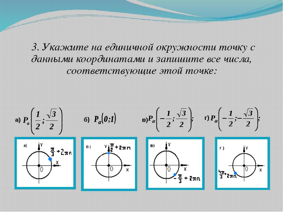 3. Укажите на единичной окружности точку с данными координатами и запишите в...
