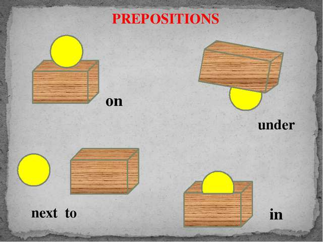 PREPOSITIONS on next to under in