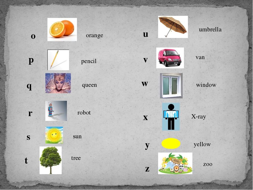 o orange p pencil q queen r robot s sun t tree u umbrella v van w window x X-...