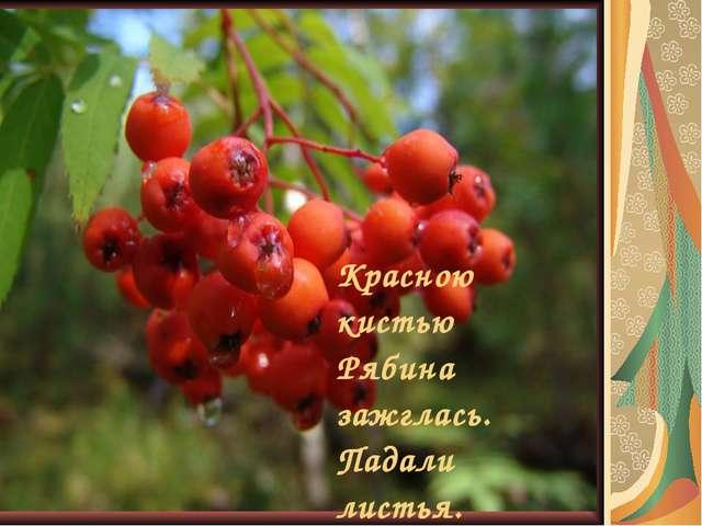 Красною кистью Рябина зажглась. Падали листья. Я родилась…