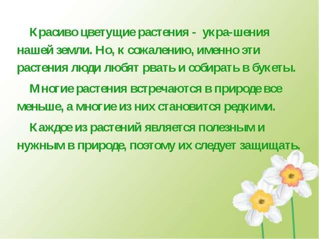 Красиво цветущие растения - укра-шения нашей земли. Но, к сожалению, именно э...