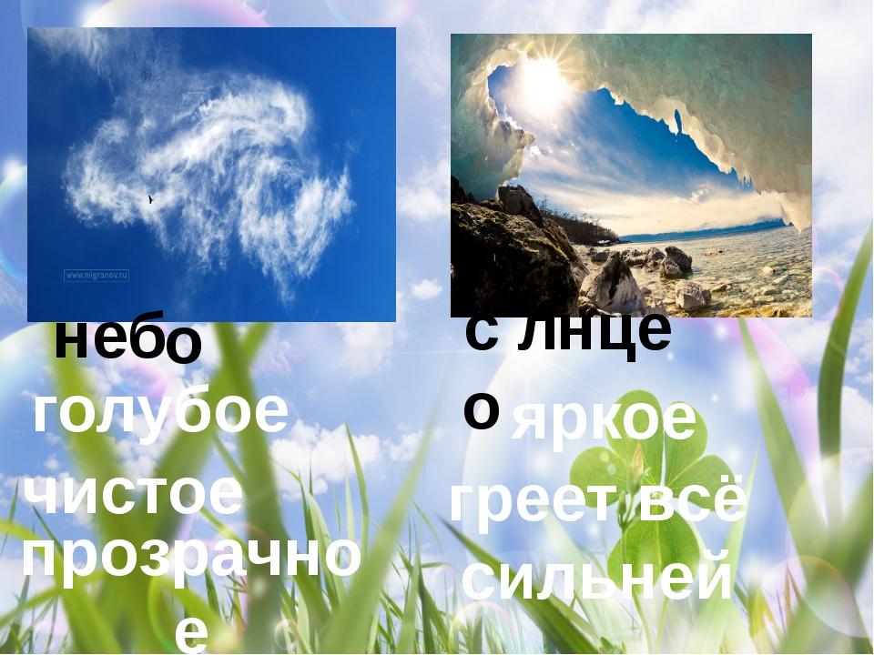 голубое чистое прозрачное неб о со л нце яркое греет всё сильней