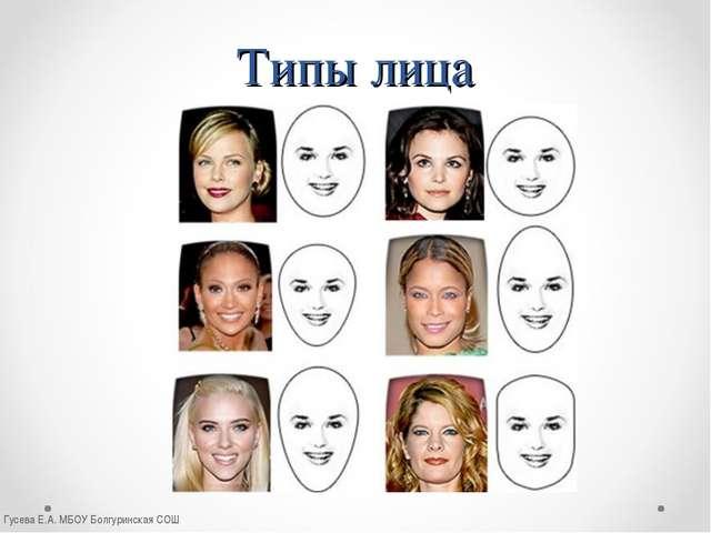 Типы лица Гусева Е.А. МБОУ Болгуринская СОШ Гусева Е.А. МБОУ Болгуринская СОШ