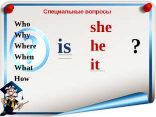 Специальные вопросы Who Why Where When What How is she he it ?