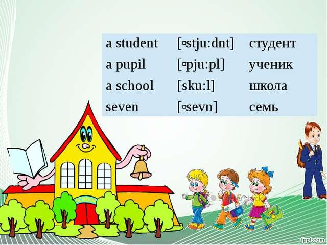a student [ʹstju:dnt] студент a pupil [ʹpju:pl] ученик a school [sku:l] школа...