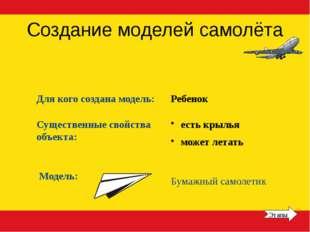 Создание моделей самолёта Для кого создана модель: Существенные свойства объе